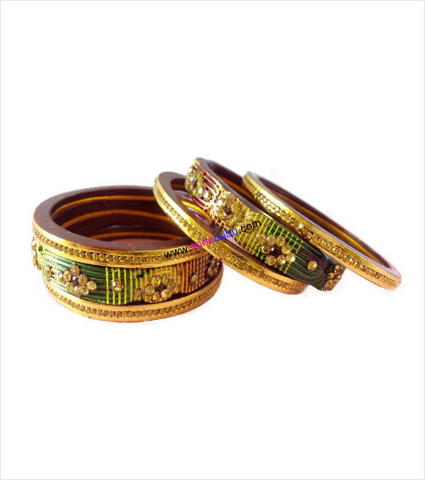 Maroon green & cream lac bangle studded set of 6
