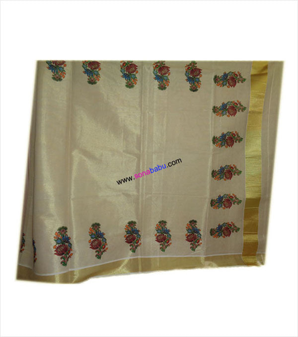Kerala Kasavu Saree floral design with blouse
