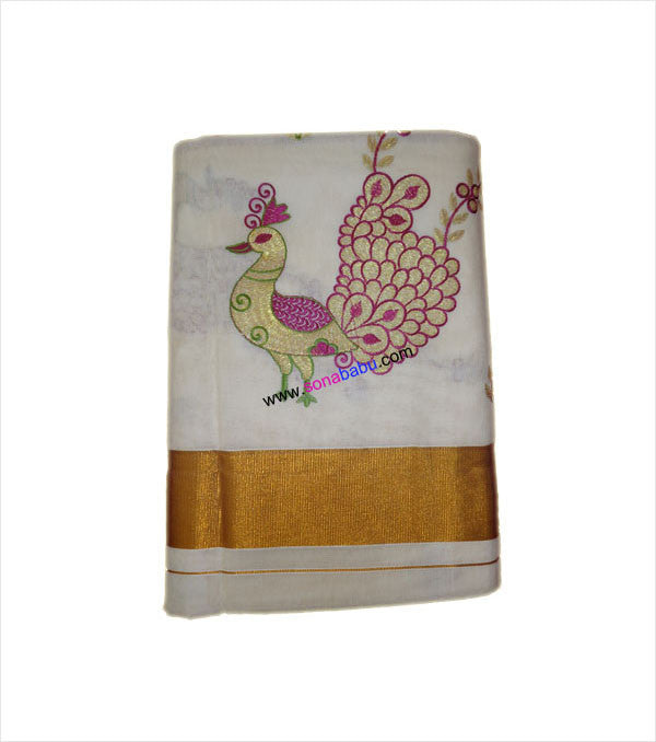 Kerala Kasavu Peacock Embroidered Cotton Saree With Blouse