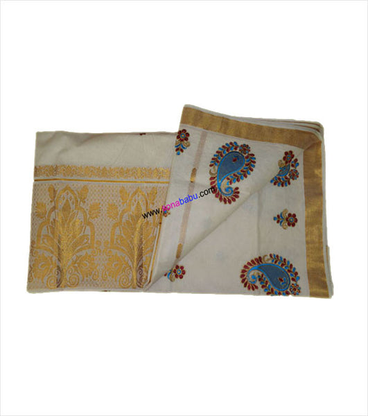 Kerala Kasavu Zari Rich 12 Inch Pallu (Floral Design) cotton Saree