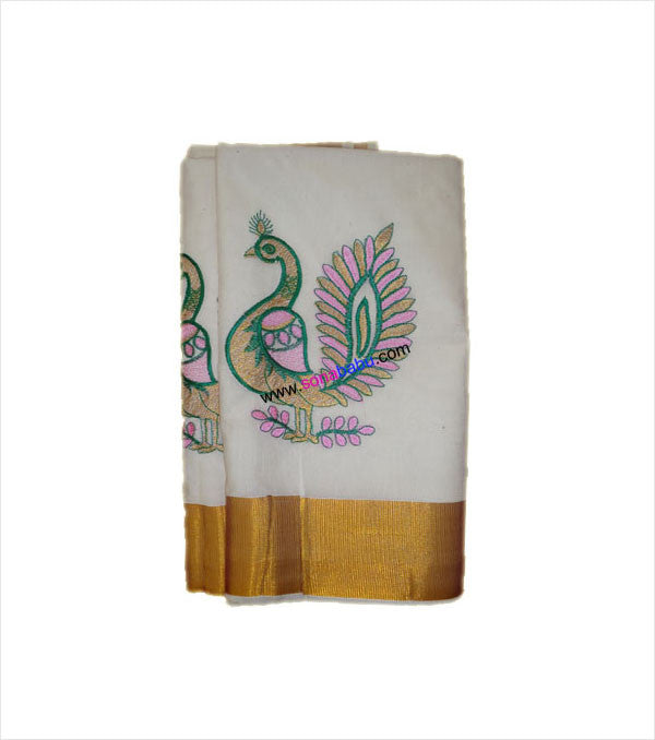 Kerala Kasavu Peacock Embroidered Cotton Saree