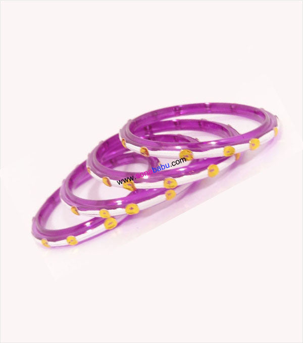 Magenta white coloured kids thin bangle set of 4