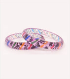 Pink coloured kids bangle with design of shubh labh set of 2