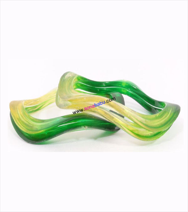 Greenish transparent bangle set of 4