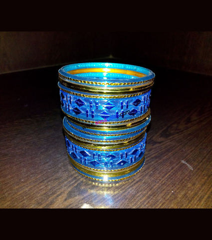 Blue and golden fiber kids bangles full set