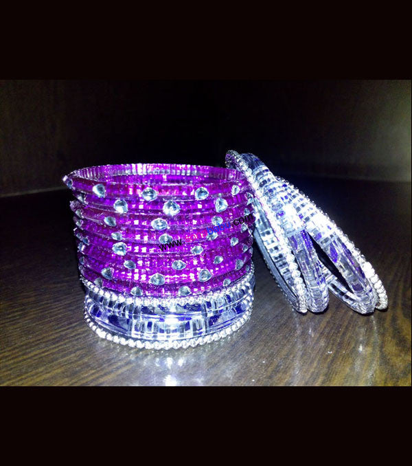 Purple and white transparent kids bangles full set