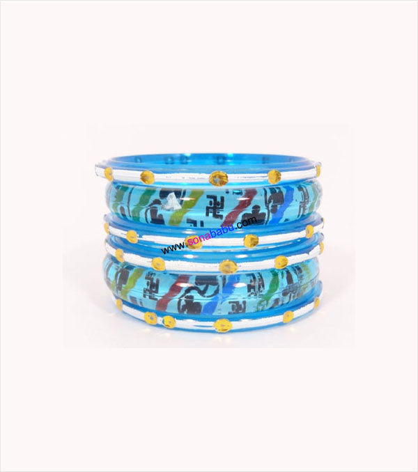 Ferozi coloured kids bangle having thick and thin set of 6