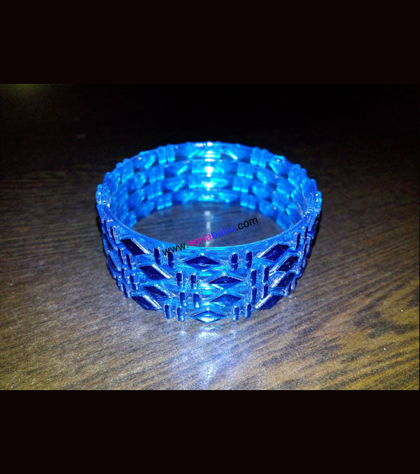 Blue fiber kids bangles set of 4