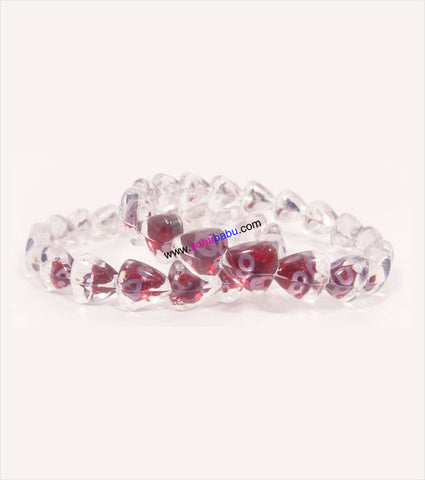 Transparent maroon heart design kids bangle set of 2
