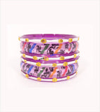 Magenta coloured kids bangle-having thick and thin set of 6