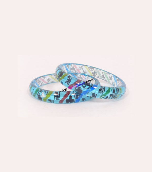 Ferozi coloured kids bangle with design of shubh labh set of 2
