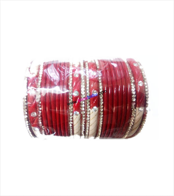 Red coloured lac bangle beautifully designed with stones