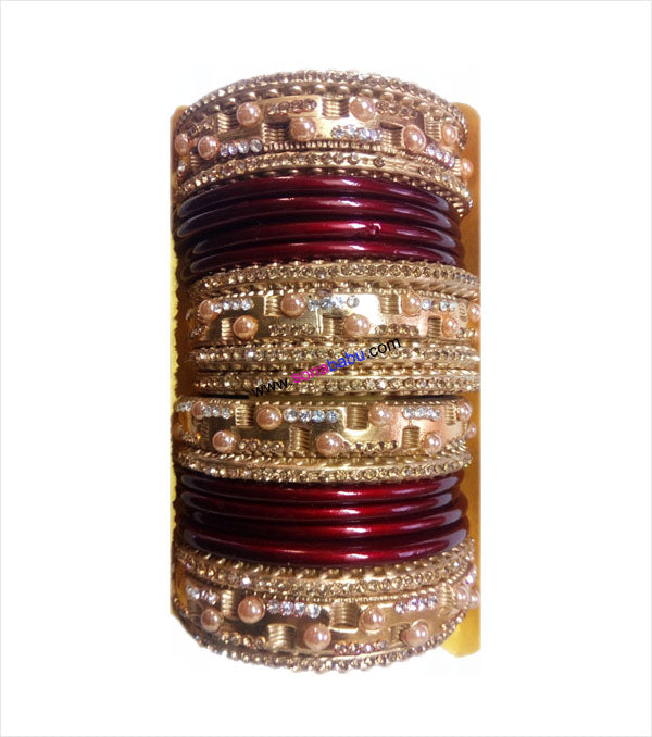 Maroon and golden coloured lakh bangle having broad kangan with full work