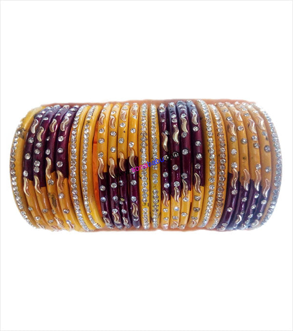 Maroon and yellow coloured lac bangle with stones and work