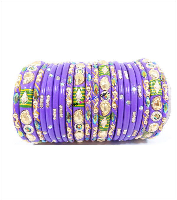 Purple colored lac bangle with mor design in kangan
