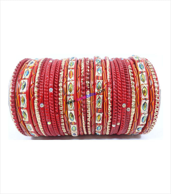 Red colored lac bangle with screw design and toned with sparkling