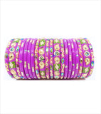 Pink colored lac bangle with mor design in kangan