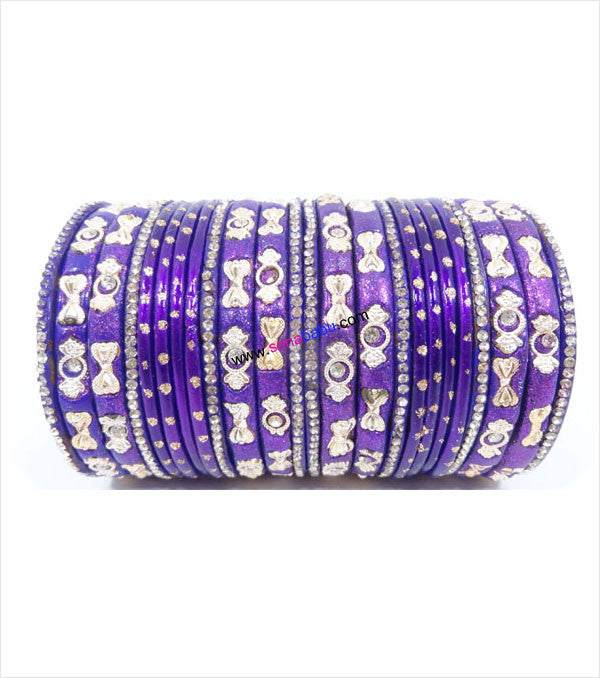 Violet colored lac bangle fully worked with stones and flower