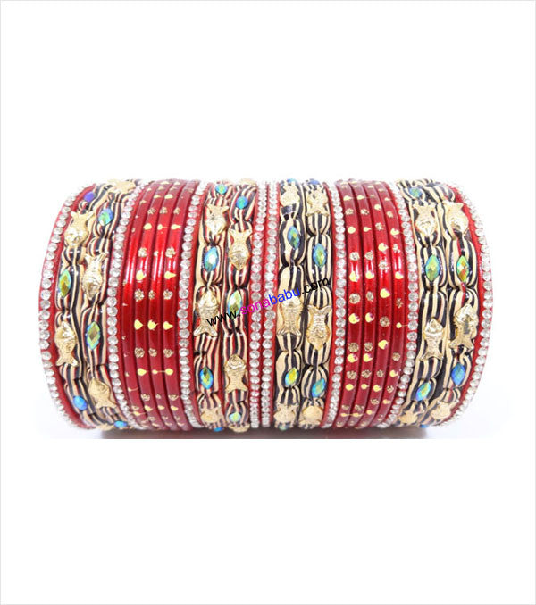 Red colored lac bangle with fish design