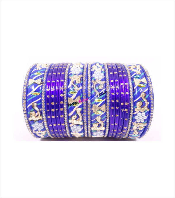 Dark blue colored lac bangle with mor work