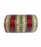 Maroon coloured lac bangle with colourful stone full set