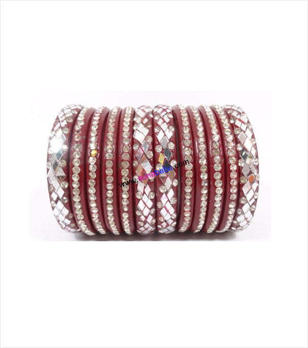 Maroon coloured lac bangle studded with white stone