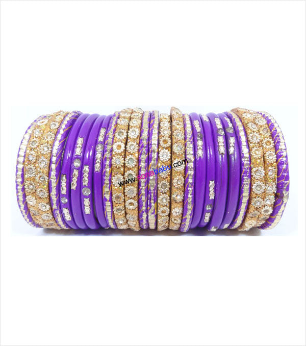 Purple colored lac bangle with round designed golden kangans