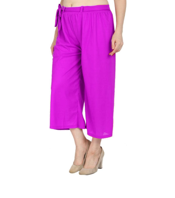 Magenta culottes lycra cropped palazzo