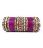 Beautiful Purple colored metal bangle with kundan work