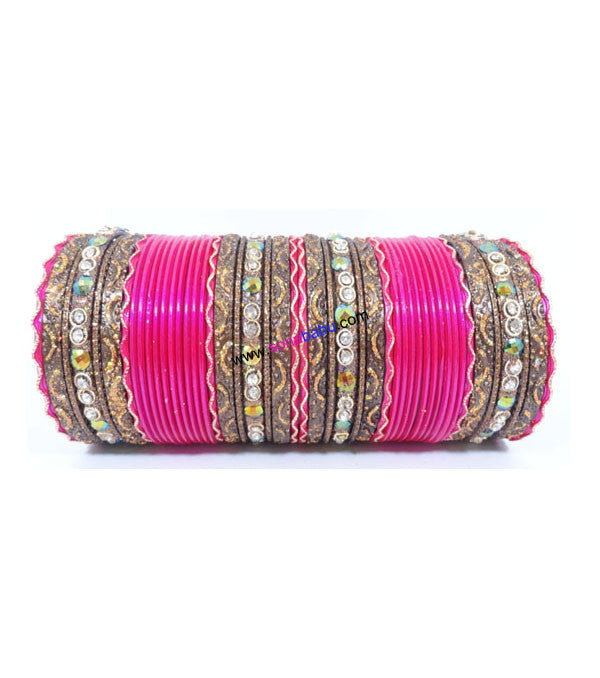 Stunning Pink colored metal bangle with kundan work