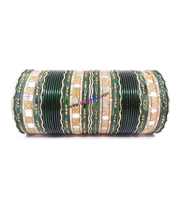 Dark green colored metal bangle with zigzag golden work