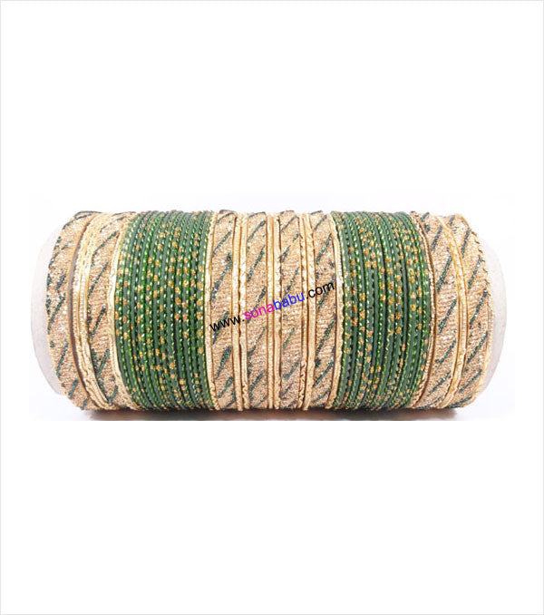Green and golden colored metal bangles with full work