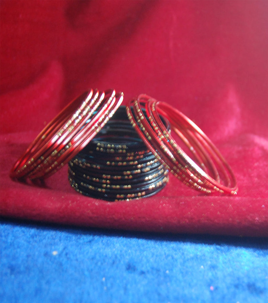 Metal bangles with full work set of 20
