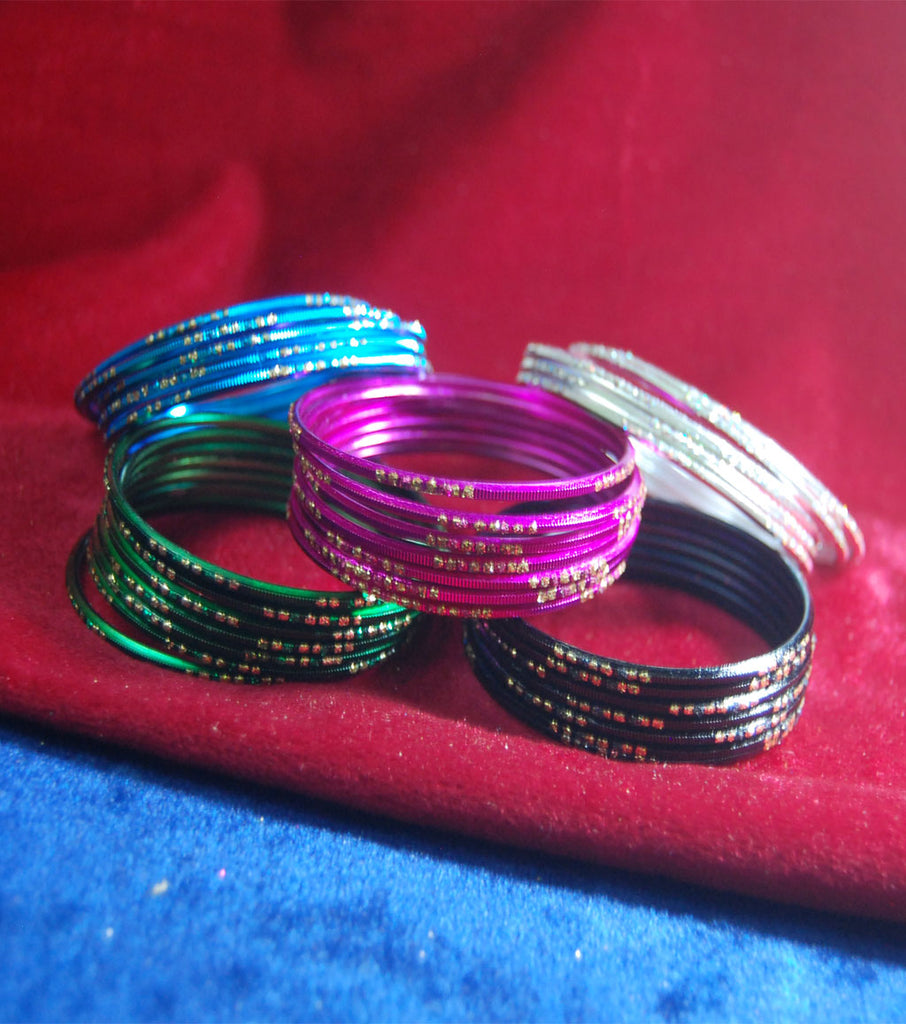 Metal bangles with full work set of 30