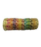 Printed multicoloured Nylon Bangles with studded stones set of 24