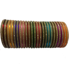 Plain multicoloured Nylon Bangles with studded stones set of 24