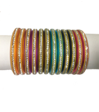 Plain multicoloured Nylon Bangles with studded stones set of 12
