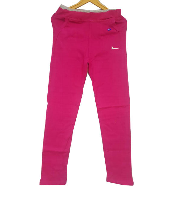 Pink Cotton Lycra ladies jogging lower