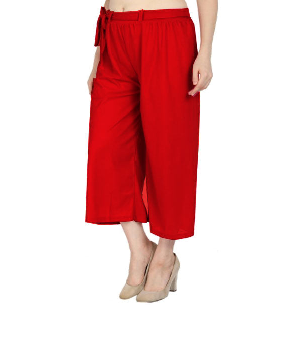Red culottes lycra cropped palazzo