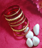 Red Fibre Bangles with Gold Plated and carved work set of 6