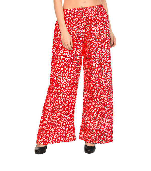 Printed red crepe small flare palazzo