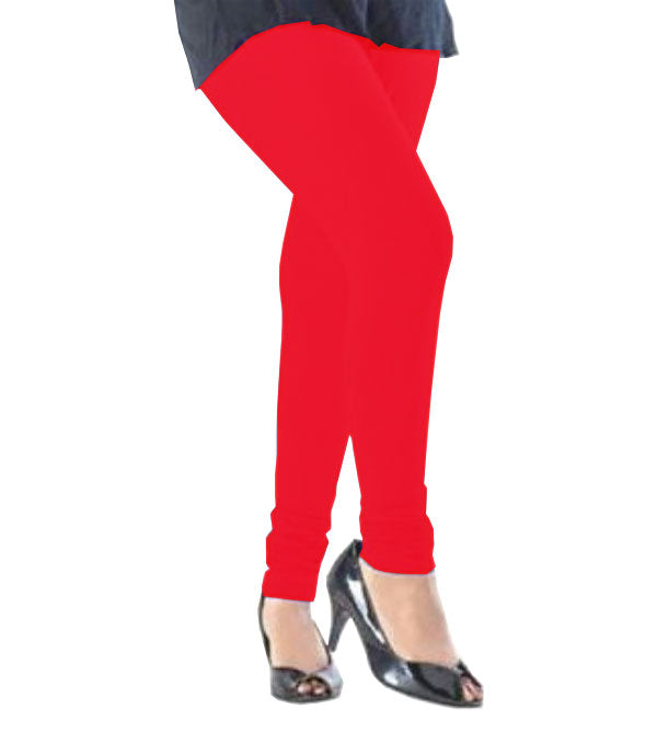 Red viscose solid legging