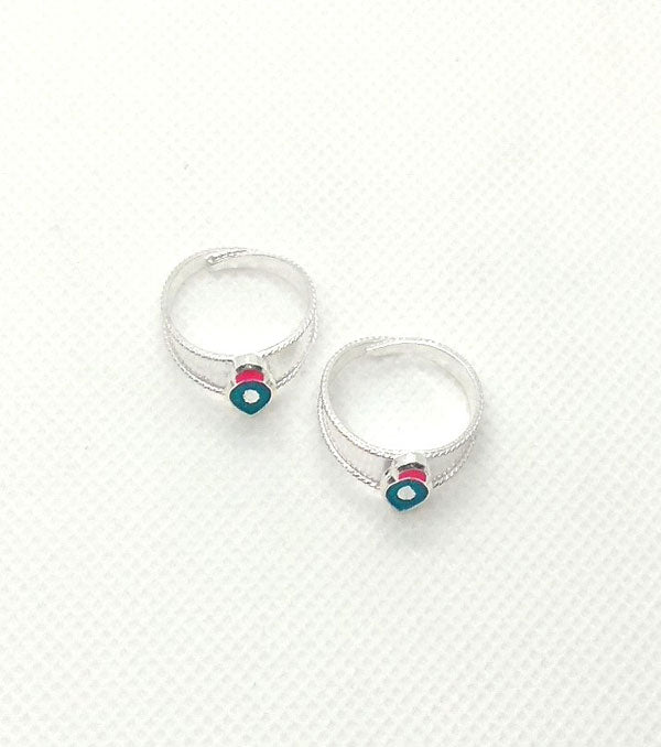 Silver Multi Stones Toe Rings for Women's