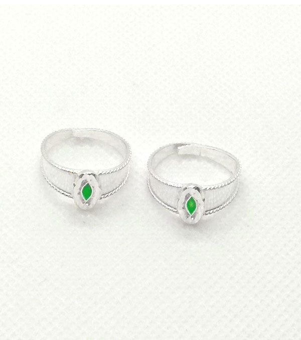 Silver Green Toe Rings with beautiful design for Women's