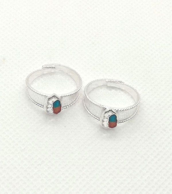 Silver Red Green Stones Worked Toe Rings with Adjustable for Women's