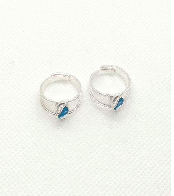 Silver Firozi Stones Toe Rings with Adjustable for Women's