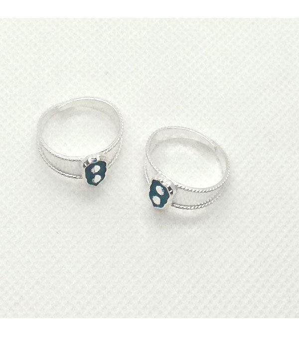 Silver Stones Worked Toe Rings with Adjustable for Women's
