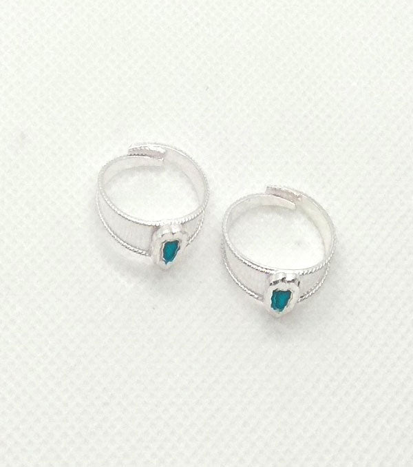 Silver Blue Stones Toe Rings with Adjustable for Women's
