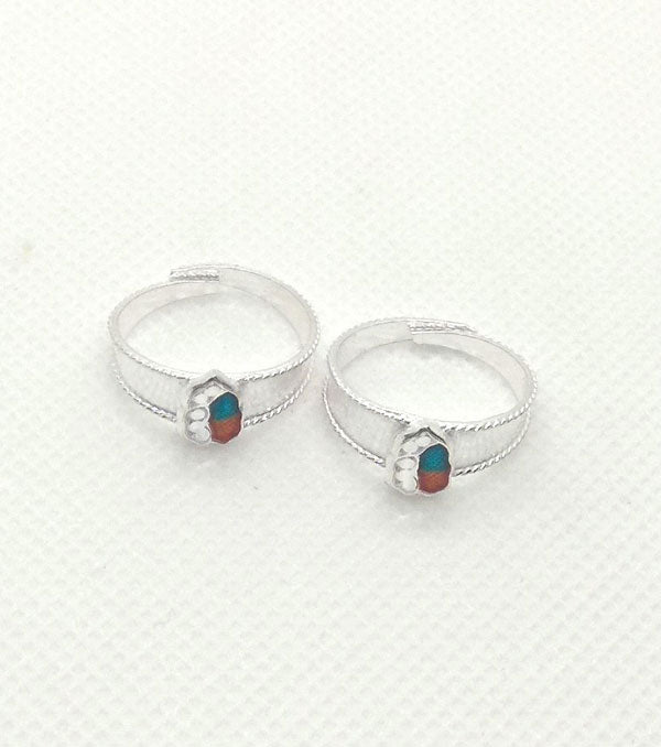 Silver Green Red Stones Toe Rings with Adjustable for Women's