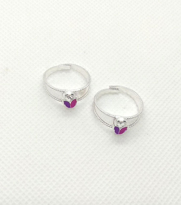 Silver Magenta Pink Stones Toe Rings with Adjustable for Women's